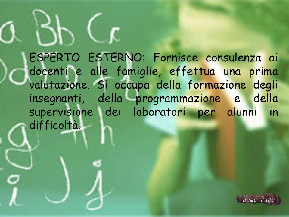 ESPERTO ESTERNO: Fornisce consulenza ai docenti e alle famiglie, effettua una prima valutazione.