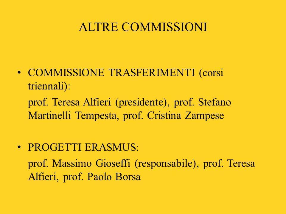 ALTRE COMMISSIONI COMMISSIONE TRASFERIMENTI (corsi triennali):