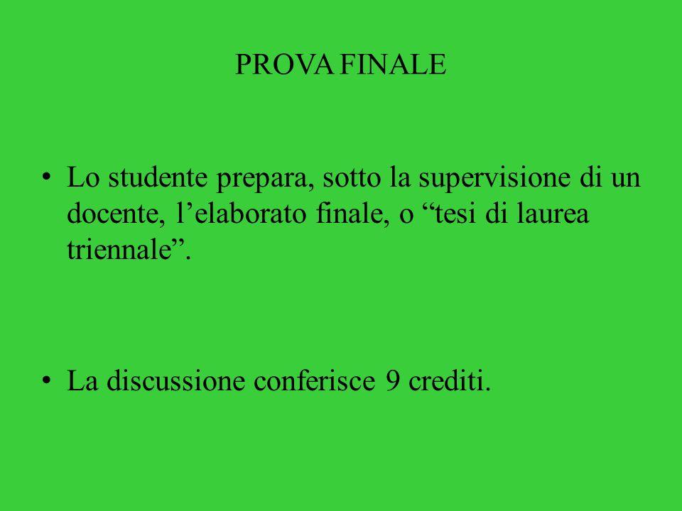 PROVA FINALE Lo studente prepara, sotto la supervisione di un docente, l'elaborato finale, o tesi di laurea triennale .
