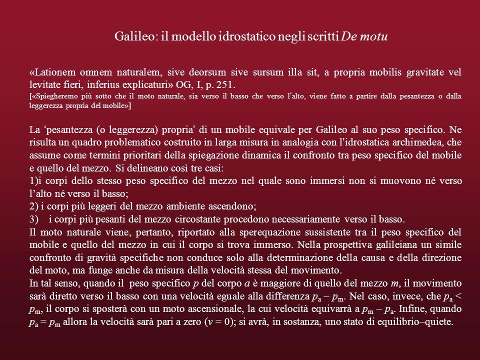 Galileo: il modello idrostatico negli scritti De motu