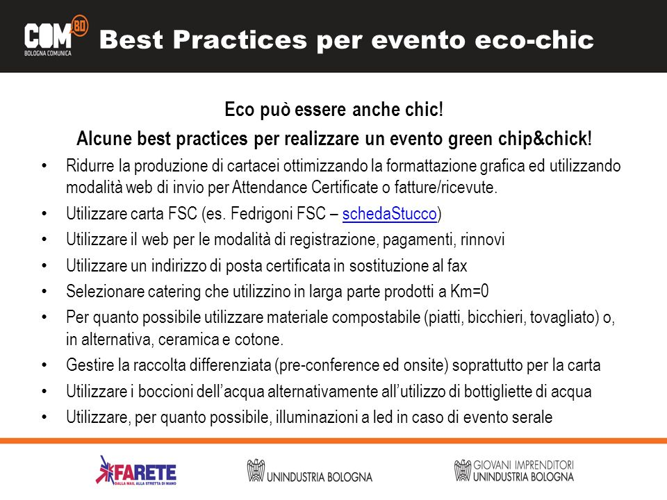 Best Practices per evento eco-chic