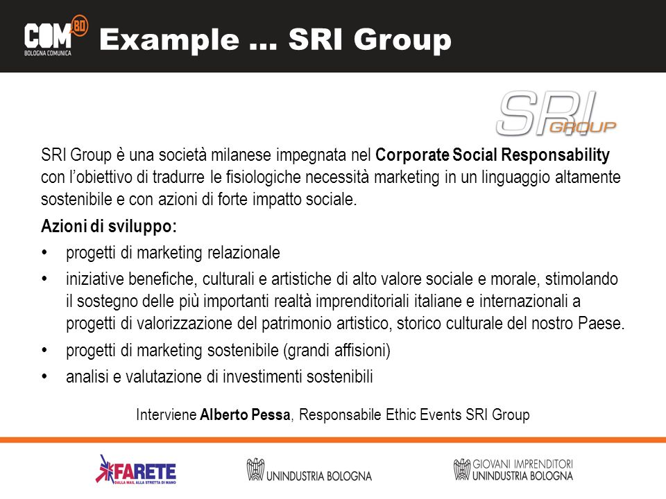 Interviene Alberto Pessa, Responsabile Ethic Events SRI Group