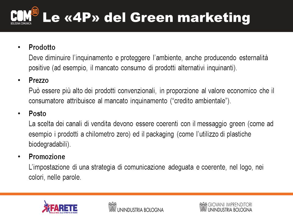 Le «4P» del Green marketing