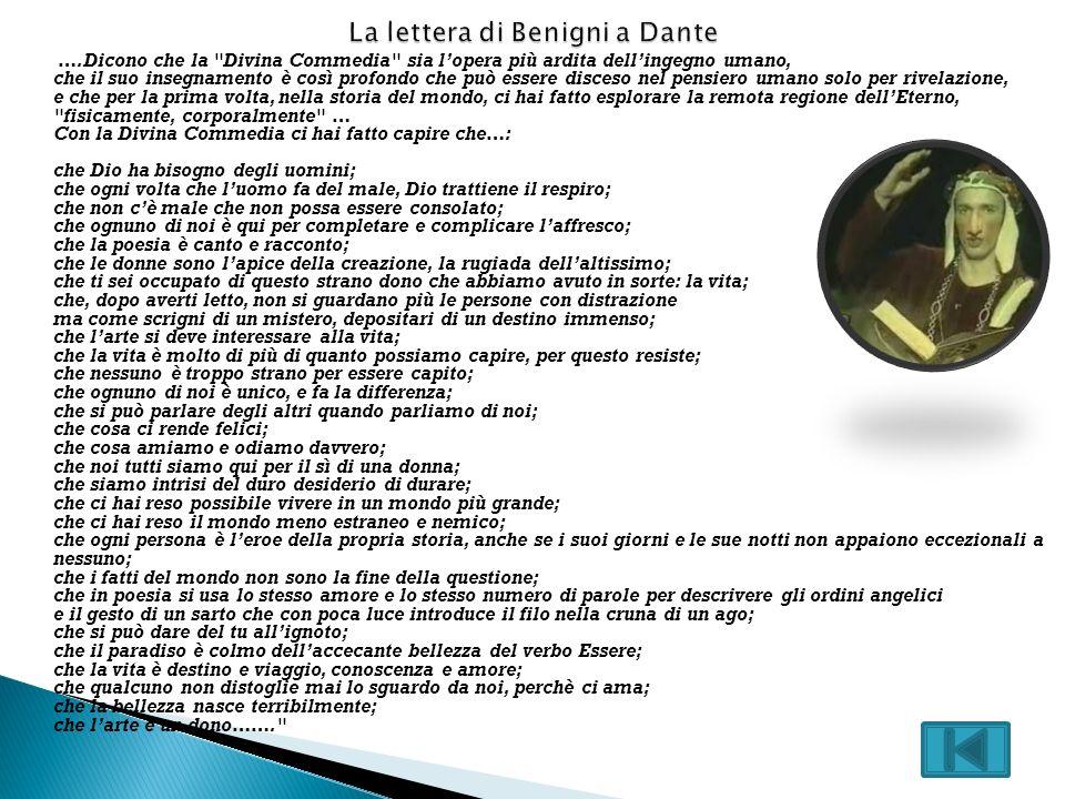 La lettera di Benigni a Dante