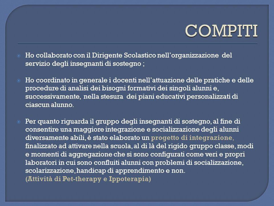COMPITI Ho collaborato con il Dirigente Scolastico nell'organizzazione del servizio degli insegnanti di sostegno ;