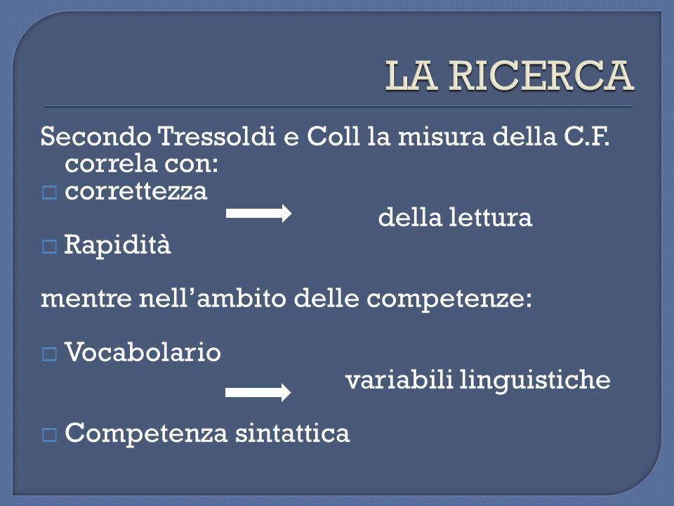 LA RICERCA Secondo Tressoldi e Coll la misura della C.F. correla con: