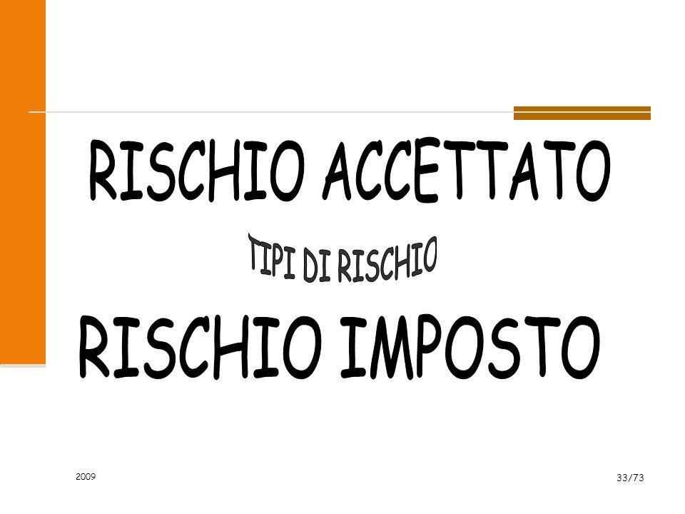 RISCHIO ACCETTATO TIPI DI RISCHIO RISCHIO IMPOSTO 2009