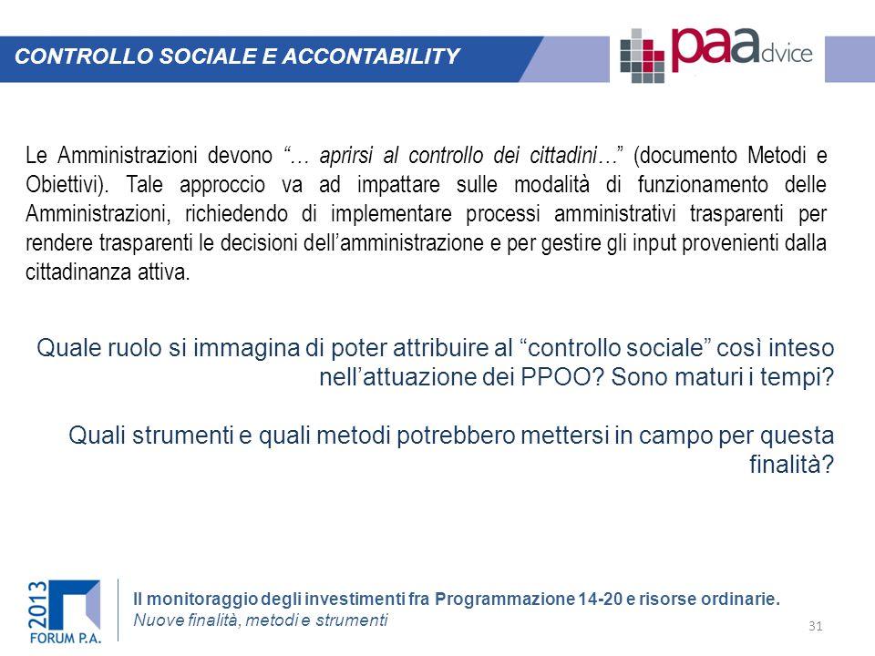 CONTROLLO SOCIALE E ACCONTABILITY