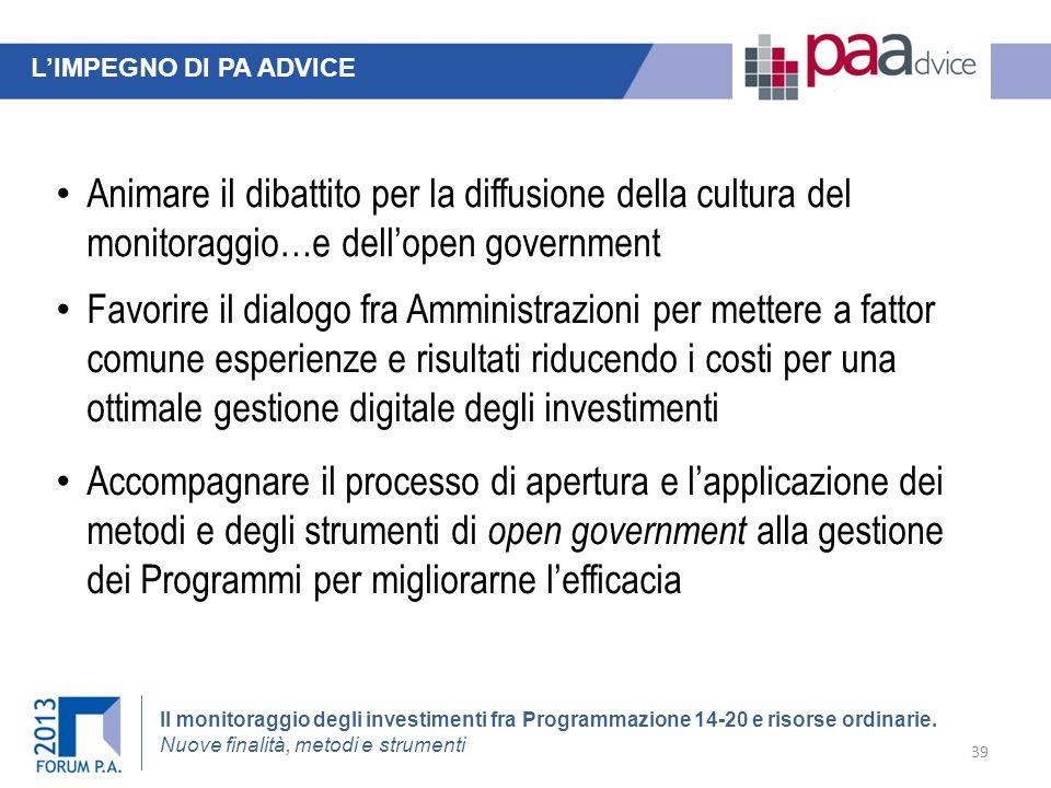 L'IMPEGNO DI PA ADVICE Animare il dibattito per la diffusione della cultura del monitoraggio…e dell'open government.