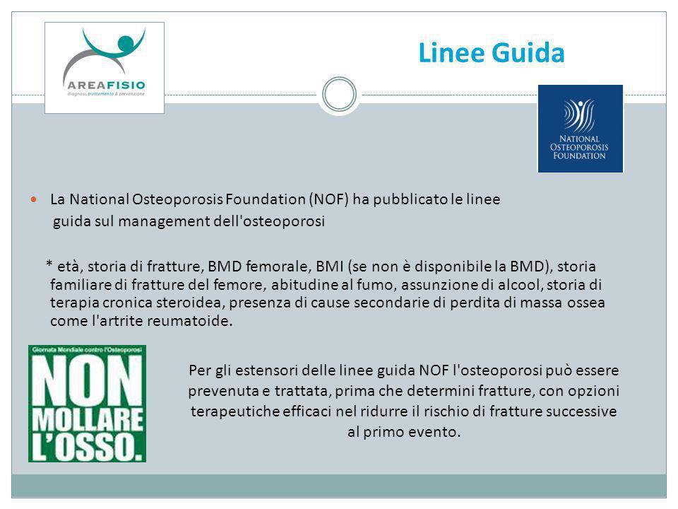 Linee Guida La National Osteoporosis Foundation (NOF) ha pubblicato le linee. guida sul management dell osteoporosi.