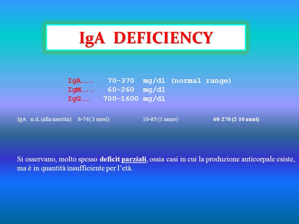 IgA DEFICIENCY IgA……. 70-370 mg/dl (normal range) IgM….. 60-260 mg/dl