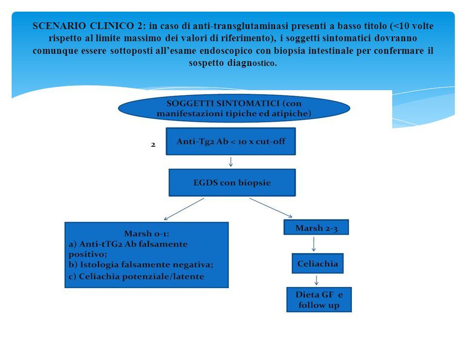 SCENARIO CLINICO 2: in caso di anti-transglutaminasi presenti a basso titolo (<10 volte rispetto al limite massimo dei valori di riferimento), i soggetti sintomatici dovranno comunque essere sottoposti all'esame endoscopico con biopsia intestinale per confermare il sospetto diagnostico.