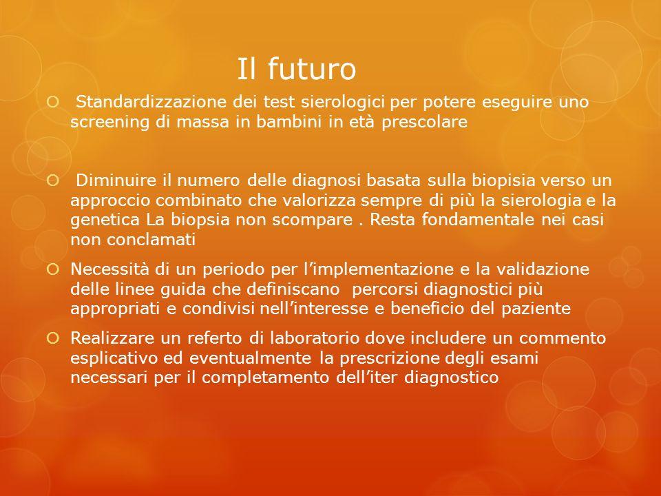 Il futuro Standardizzazione dei test sierologici per potere eseguire uno screening di massa in bambini in età prescolare.