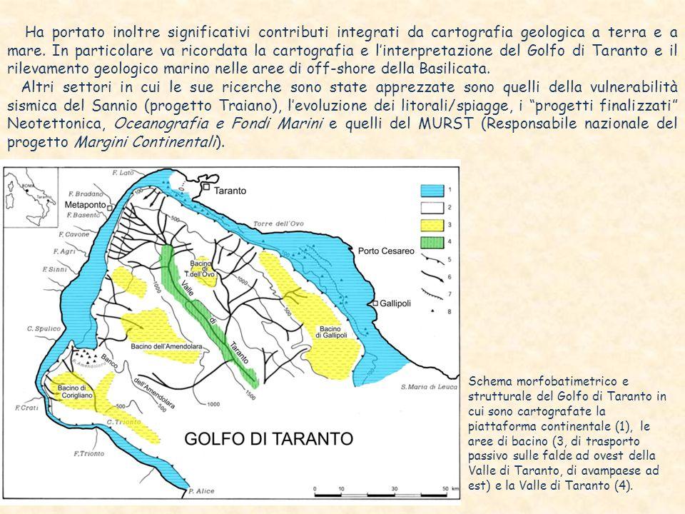 Ha portato inoltre significativi contributi integrati da cartografia geologica a terra e a mare. In particolare va ricordata la cartografia e l'interpretazione del Golfo di Taranto e il rilevamento geologico marino nelle aree di off-shore della Basilicata.