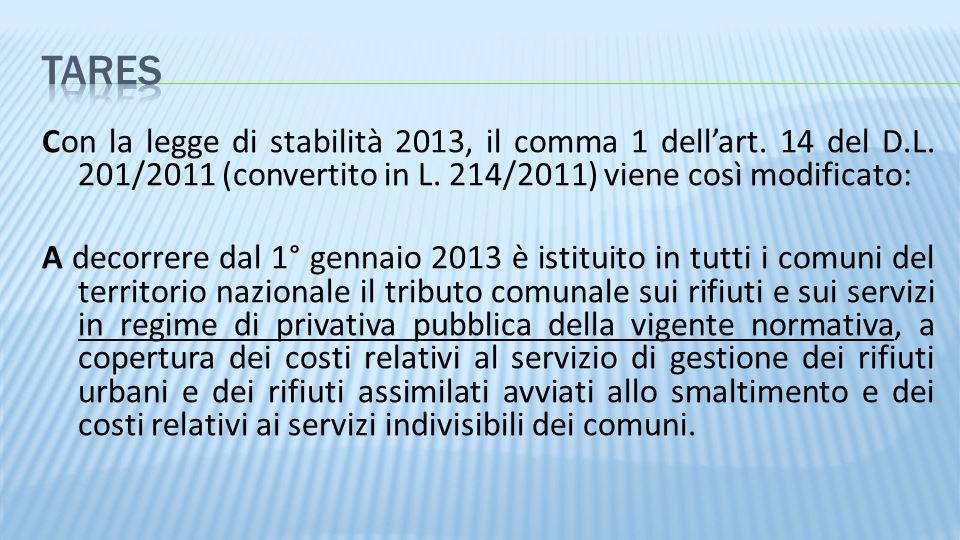 3/28/2017tares. Con la legge di stabilità 2013, il comma 1 dell'art. 14 del D.L. 201/2011 (convertito in L. 214/2011) viene così modificato: