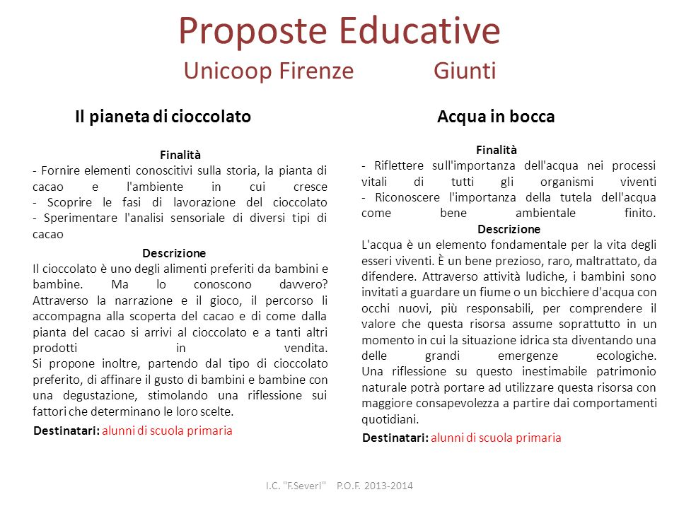 Proposte Educative Unicoop Firenze Giunti