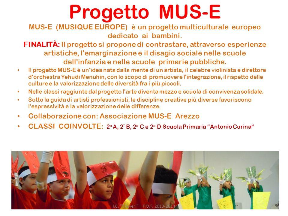 Progetto MUS-E MUS-E (MUSIQUE EUROPE) è un progetto multiculturale europeo dedicato ai bambini. FINALITÀ: Il progetto si propone di contrastare, attraverso esperienze artistiche, l emarginazione e il disagio sociale nelle scuole dell infanzia e nelle scuole primarie pubbliche.