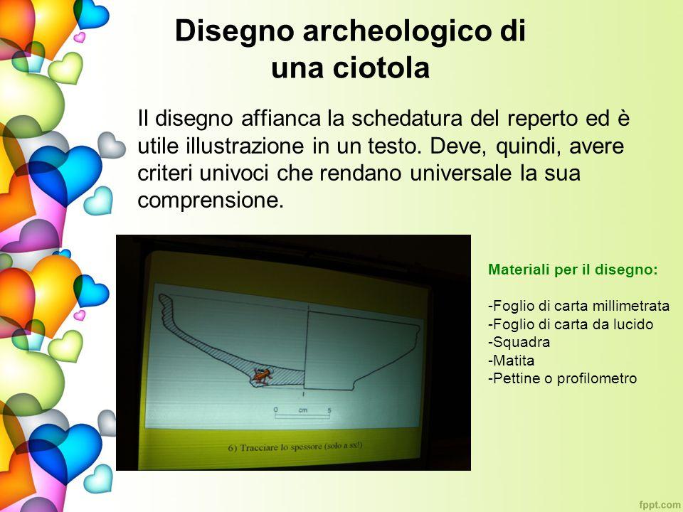 Disegno archeologico di una ciotola
