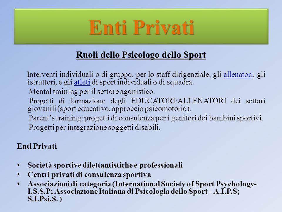 Ruoli dello Psicologo dello Sport