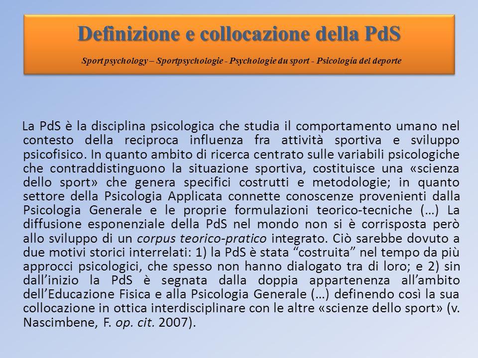 Definizione e collocazione della PdS Sport psychology – Sportpsychologie - Psychologie du sport - Psicología del deporte