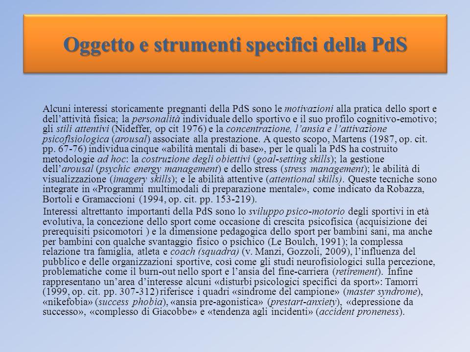 Oggetto e strumenti specifici della PdS