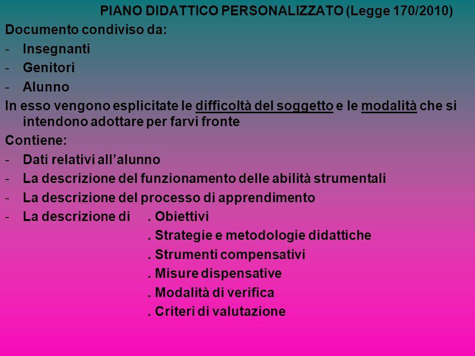 PIANO DIDATTICO PERSONALIZZATO (Legge 170/2010)