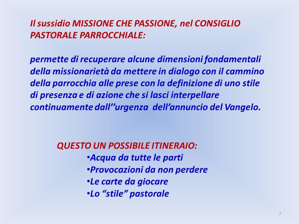 Il sussidio MISSIONE CHE PASSIONE, nel CONSIGLIO PASTORALE PARROCCHIALE: