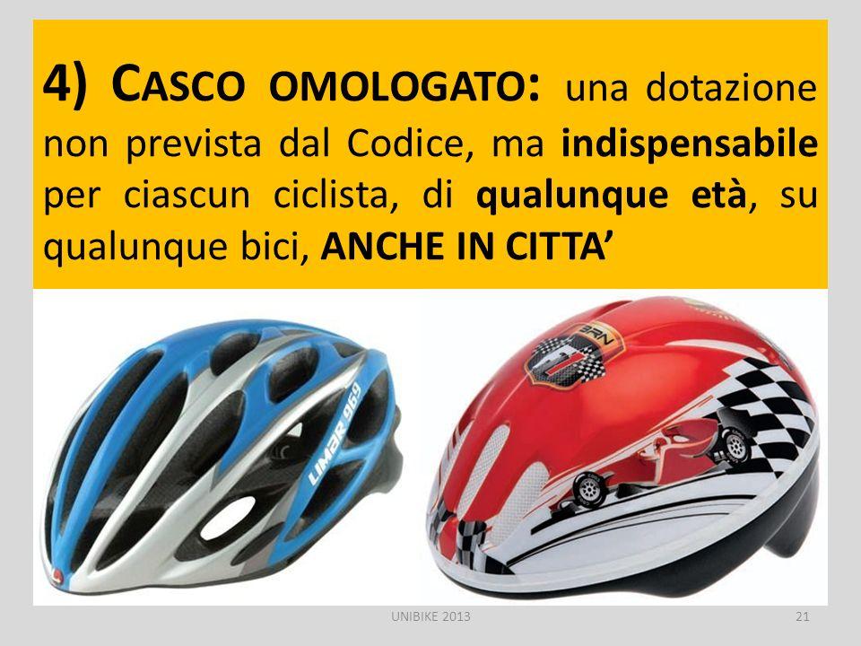 4) Casco omologato: una dotazione non prevista dal Codice, ma indispensabile per ciascun ciclista, di qualunque età, su qualunque bici, ANCHE IN CITTA'