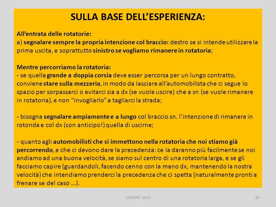 SULLA BASE DELL'ESPERIENZA: