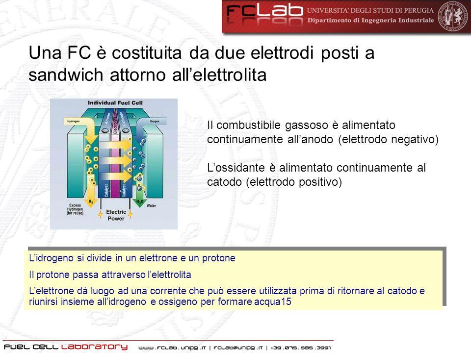 Una FC è costituita da due elettrodi posti a sandwich attorno all'elettrolita