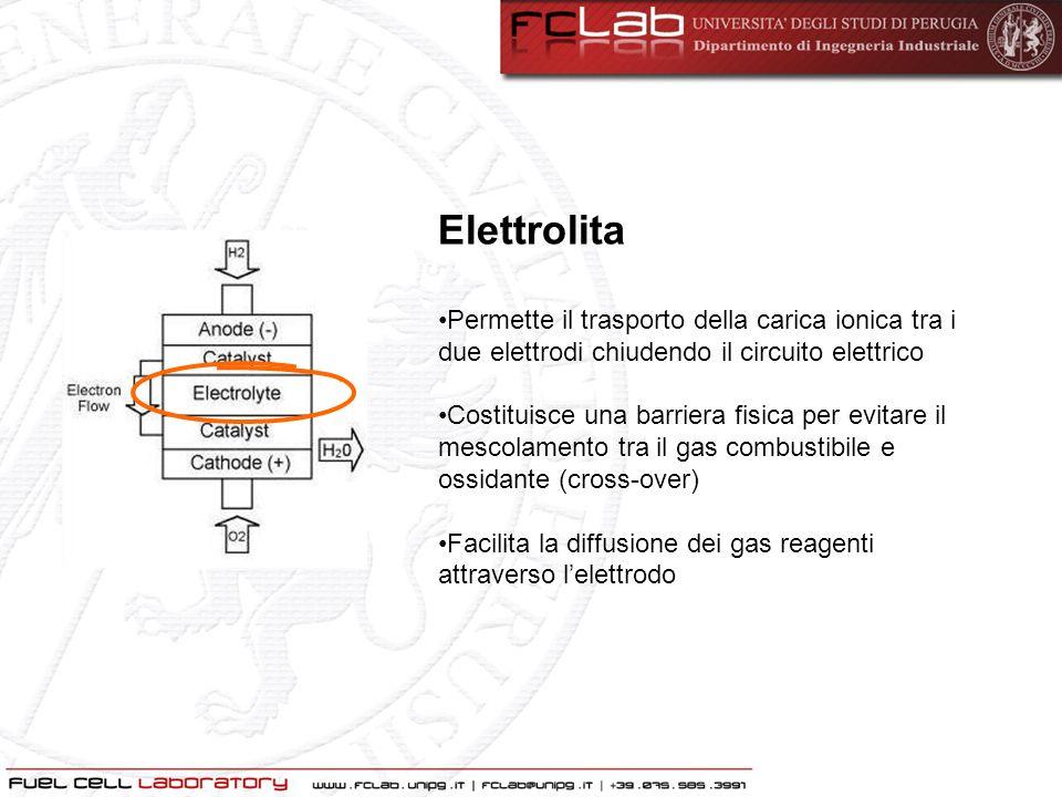 Elettrolita Permette il trasporto della carica ionica tra i due elettrodi chiudendo il circuito elettrico.