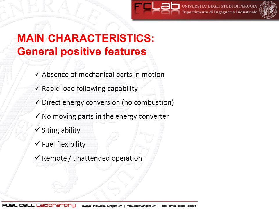 MAIN CHARACTERISTICS: General positive features