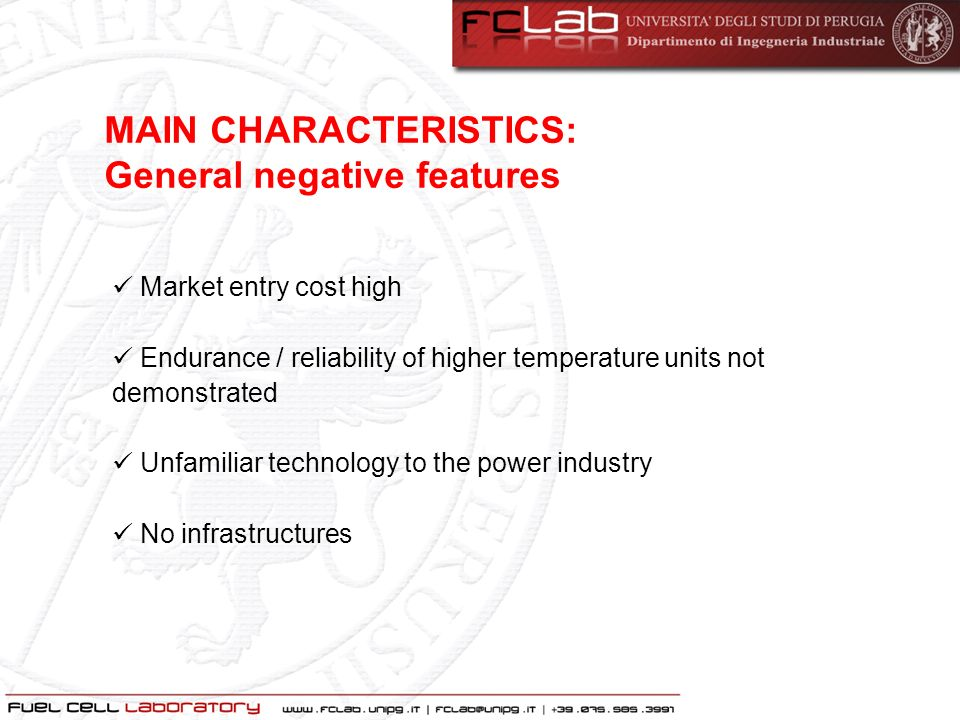 MAIN CHARACTERISTICS: General negative features