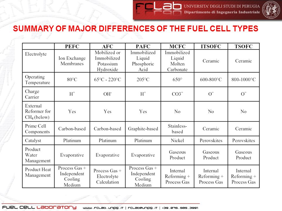 SUMMARY OF MAJOR DIFFERENCES OF THE FUEL CELL TYPES