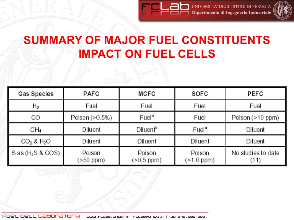SUMMARY OF MAJOR FUEL CONSTITUENTS IMPACT ON FUEL CELLS
