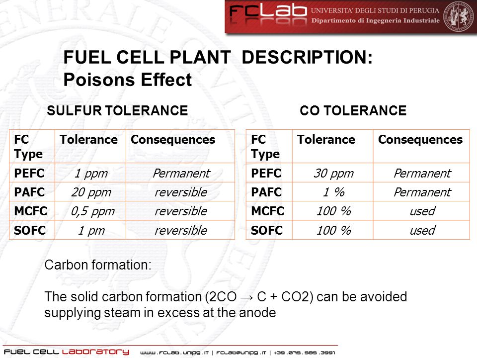 FUEL CELL PLANT DESCRIPTION: Poisons Effect