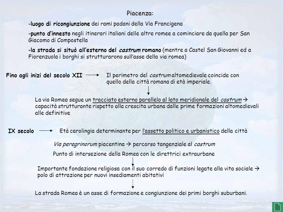 Piacenza: -luogo di ricongiunzione dei rami padani della Via Francigena.