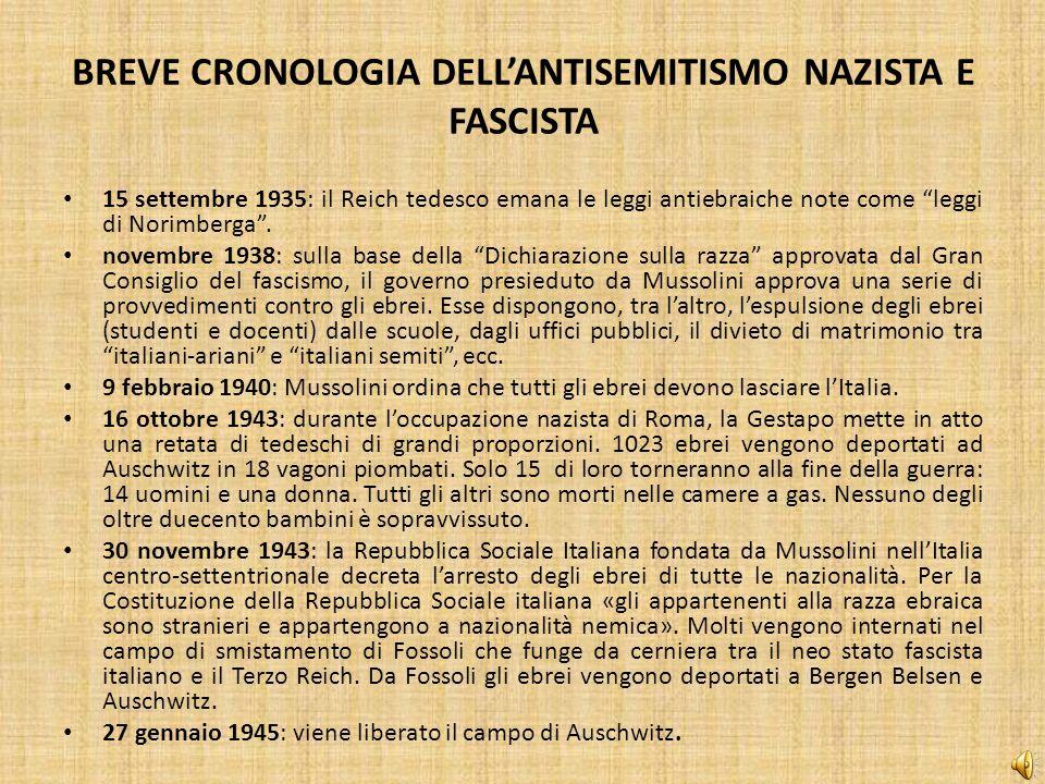BREVE CRONOLOGIA DELL'ANTISEMITISMO NAZISTA E FASCISTA