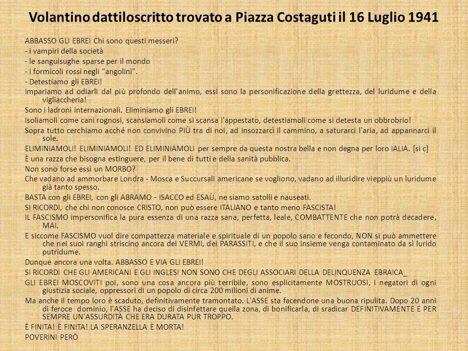 Volantino dattiloscritto trovato a Piazza Costaguti il 16 Luglio 1941