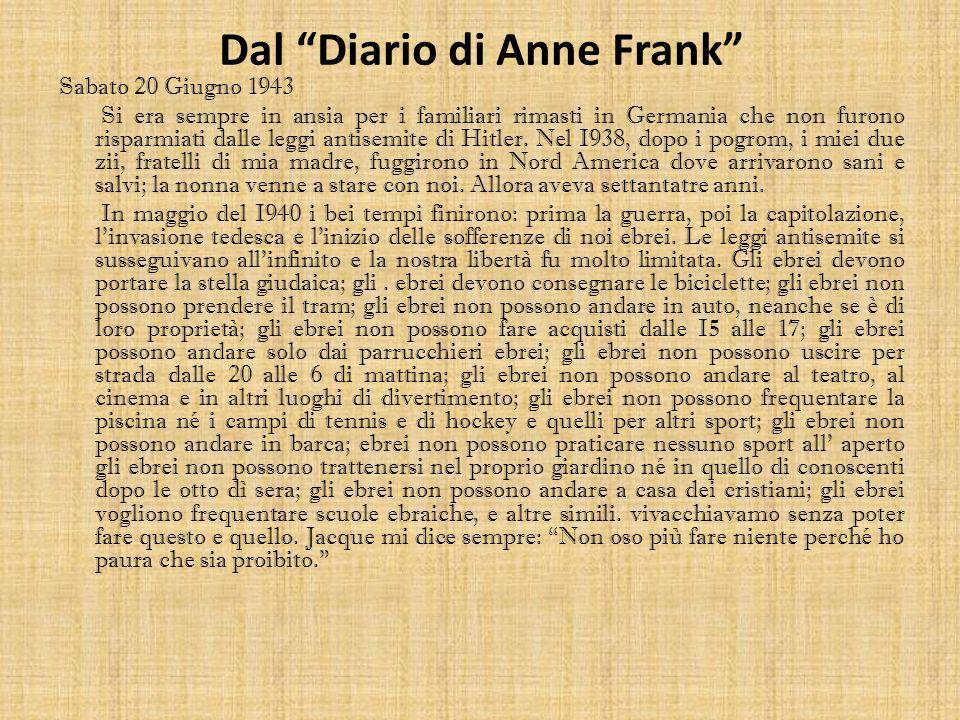 Dal Diario di Anne Frank