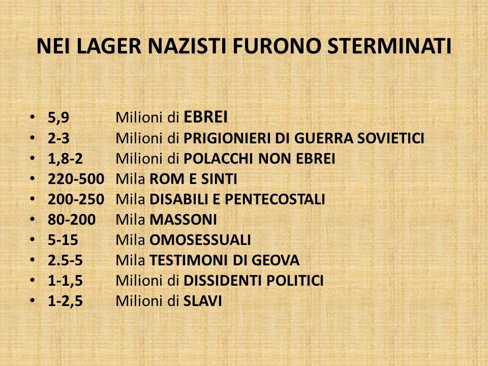 NEI LAGER NAZISTI FURONO STERMINATI