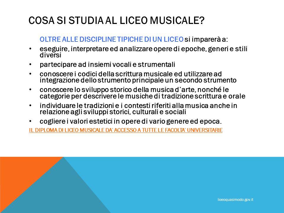 COSA SI STUDIA AL LICEO MUSICALE