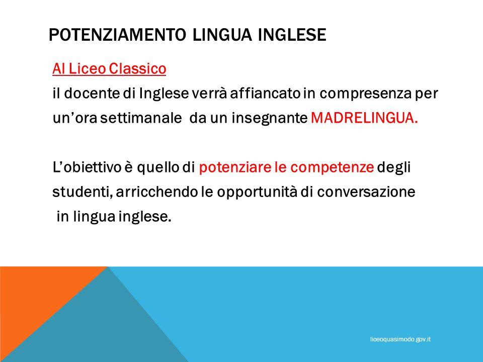 POTENZIAMENTO LINGUA INGLESE