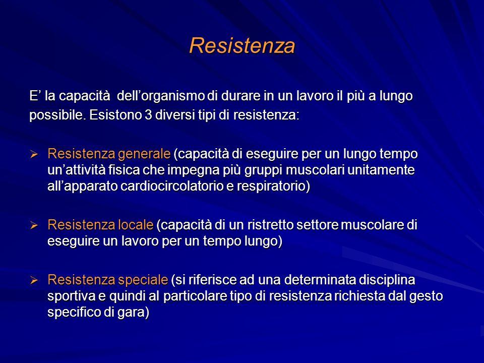 Resistenza E' la capacità dell'organismo di durare in un lavoro il più a lungo. possibile. Esistono 3 diversi tipi di resistenza: