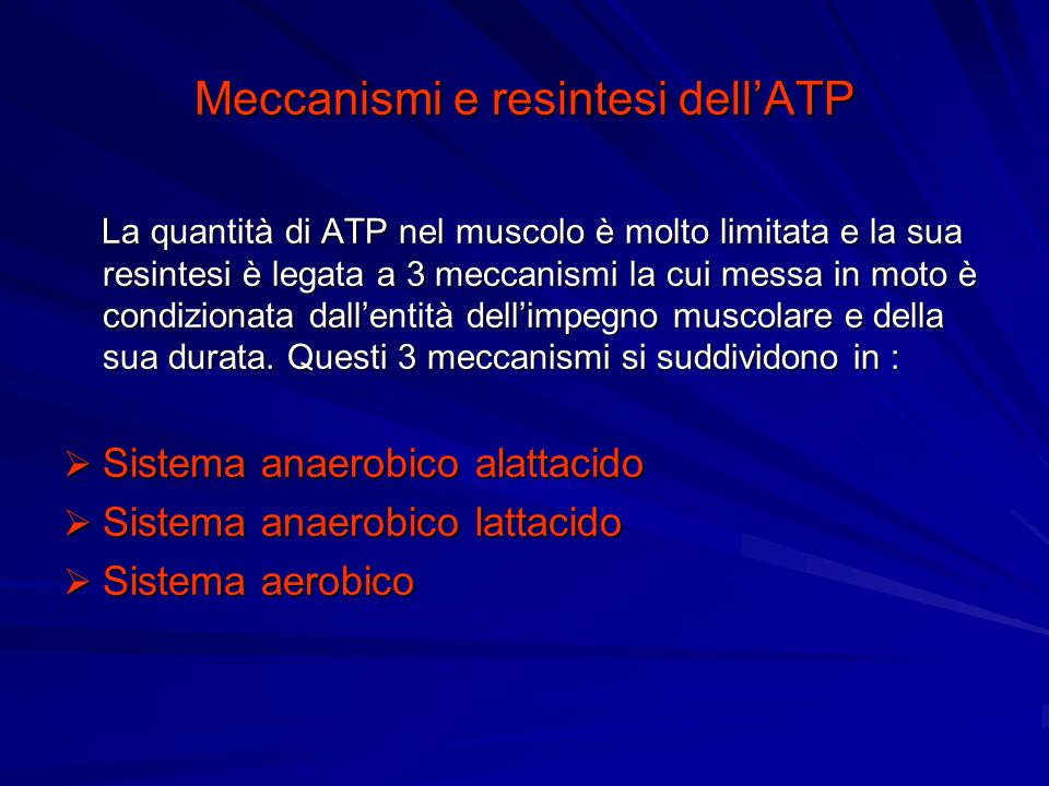 Meccanismi e resintesi dell'ATP