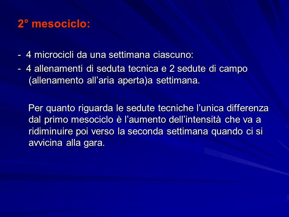 2° mesociclo: - 4 microcicli da una settimana ciascuno: