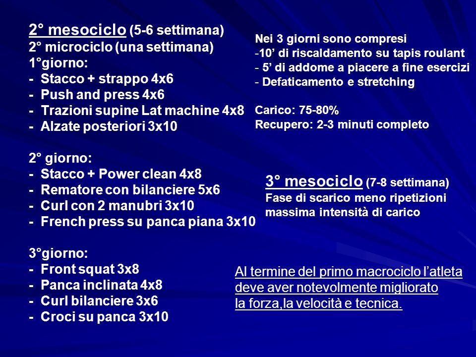 2° mesociclo (5-6 settimana)