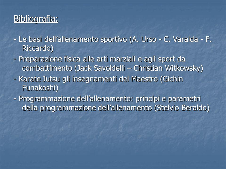 Bibliografia: - Le basi dell'allenamento sportivo (A. Urso - C. Varalda - F. Riccardo)