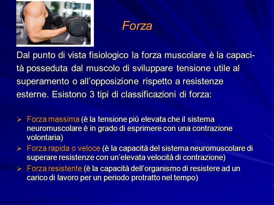 Forza Dal punto di vista fisiologico la forza muscolare è la capaci-