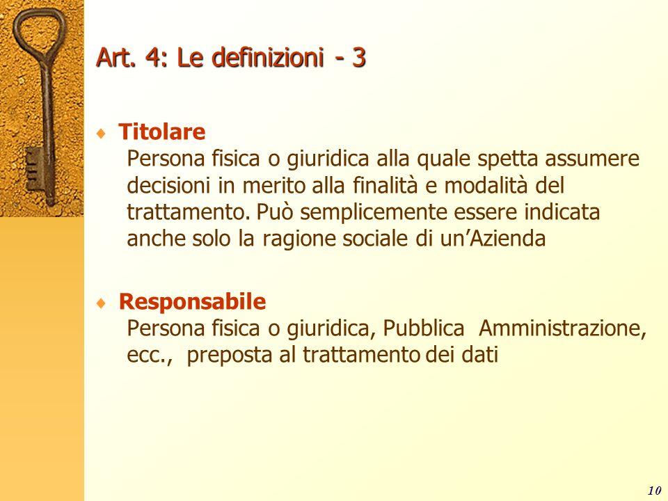 Art. 4: Le definizioni - 3 Titolare